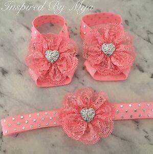 f5a727f1bdb8 Baby Girls Barefoot Sandals Lace Foot Flower Silver Shoes Headband ...