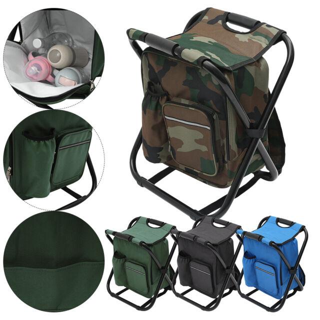 Portable Folding Camping Portable Fishing Chair Stool Seat Storage Cool Bag AU