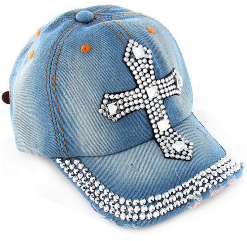 Faith Inspirational Cross Clear Rhinestone Cap Hat Stud Distressed 100/% Cotton
