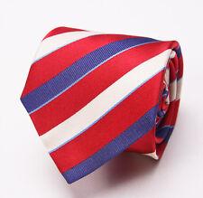 New $145 PAUL SMITH Silk Tie Red-Navy Blue-White Ribbon Stripe Italy