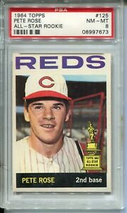 1964 Topps Baseball Card #125 Pete Rose All-Star Rookie Graded PSA Nm Mint 8 '64