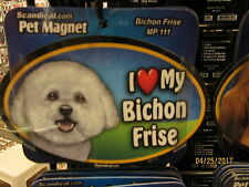 I Love My Bichon Frise 6 inch oval magnet for car or anything metal  New