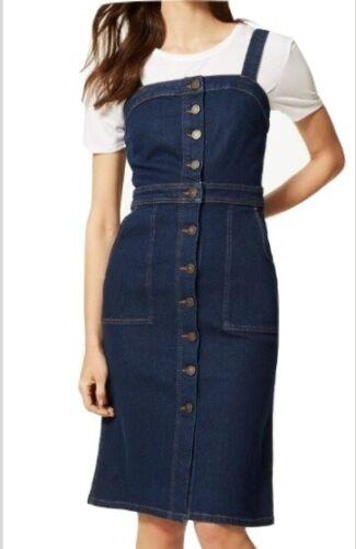 Ex M/&S Ladies Womens Denim Midi Bodycon Pinafore Dress Sleeve Marks and Spencer