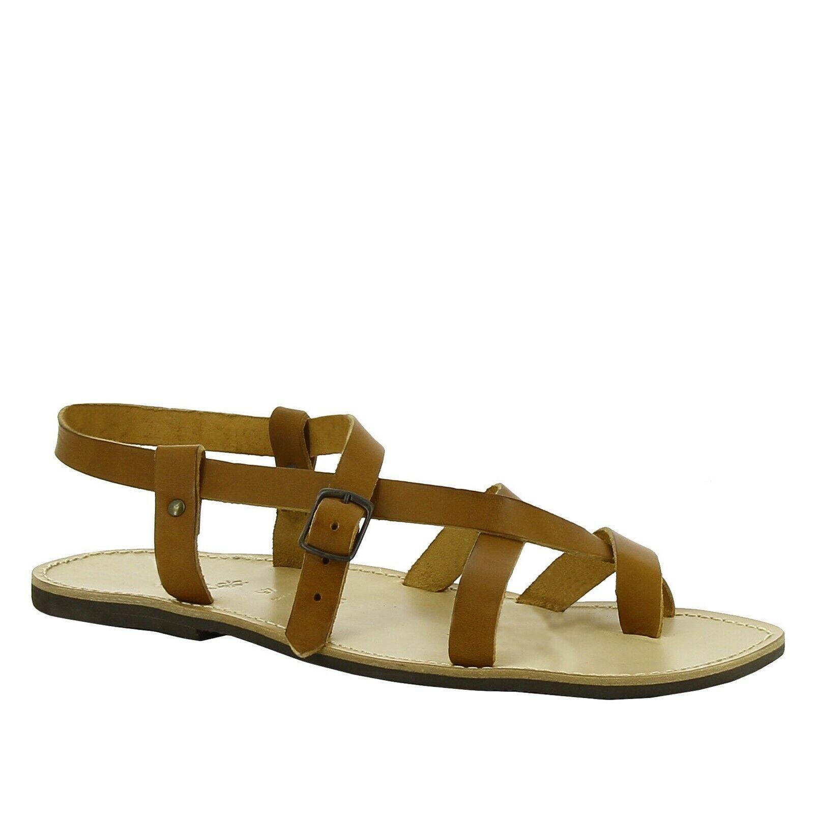 Hecho a mano para hombres Cuero Genuino Bronceado Sandalias Tira al Tobillo Zapatos Suela de goma italiano