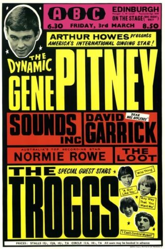 RR28 Vintage Gene Pitney Troggs Rock /& Roll Concert Music Poster A3//A4