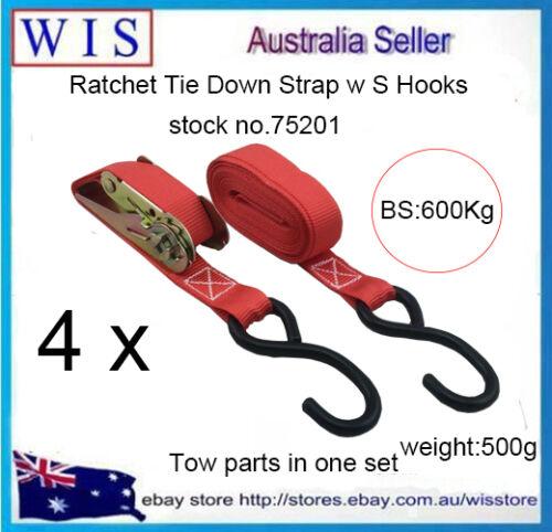 4//PK Ratchet Strap Tie Down Strap 400kg 25mm x 4.5m For Ute or Trailer-75201