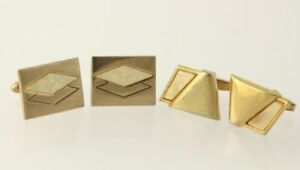 Mother-of-Pearl-Cuff-Links-2-Sets-Estate-Vintage-Mens-Swank-Foster-MOP