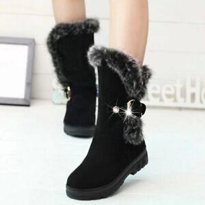 Anunciante Ya Legítimo  Botines De Piel Para Mujer Zapatos Altos Cálido Moda Botas De Invierno  Casuales | eBay