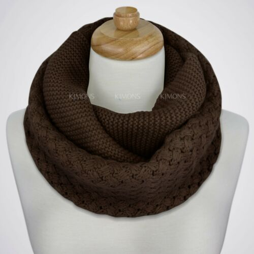 Warm New Women Winter Infinity Circle Cable Knit Cowl Neck Long Scarf Shawl Wrap