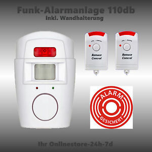alarmanlage mit bewegungsmelder pir alarm inkl 2 funk fernbedienungen einbruch ebay. Black Bedroom Furniture Sets. Home Design Ideas