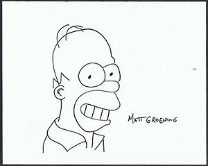 Matt-Groening-034-Homer-Simpson-034-Original-handsigned-marker-drawing-FAR-Tag