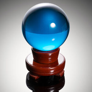 Light-Blue-Crystal-Ball-K9-80mm-Photography-Lens-Sphere-Ball-Decor-Wood-Stand