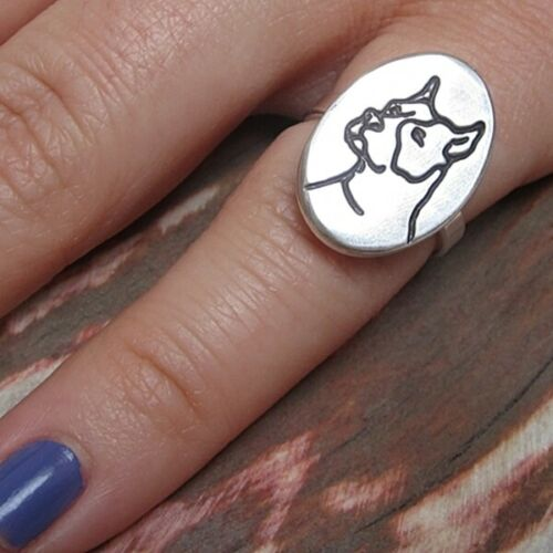 FREE SHIPPING Handmade Size 5 Pit Bull Pitbull Etched Sterling Silver Ring