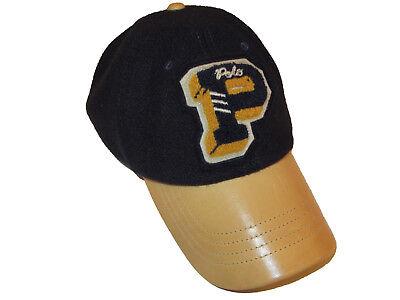 NEW RALPH LAUREN Men/'s Navy Wool Leather Brim POLO Logo Adjustable Baseball Hat