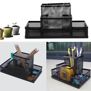 Metal-Mesh-Home-Office-Pen-Pencils-Holder-Desk-Stationery-Storage-Organizer-Box