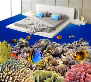 3D Lindo Coral fishs 5 Piso impresión de parojo de papel pintado mural 5D AJ Wallpaper Reino Unido Limón