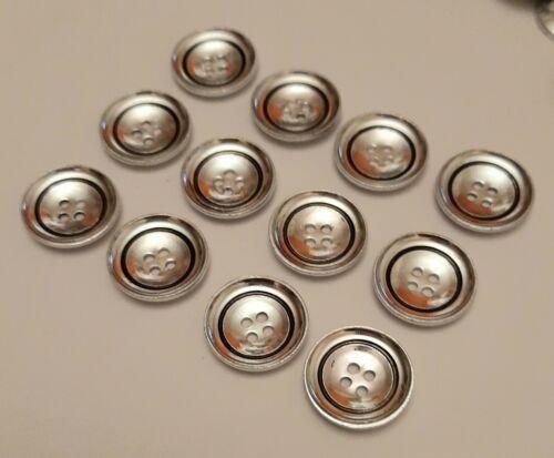 8 x 20mm Grande Argento e Nero Tondo Bottoni in Metallo-GBC721