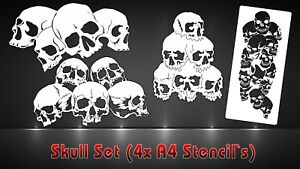 Airbrush-Schablonen-4er-SET-Totenkoepfe-Schaedelhaufen-Pile-of-Skulls-Stencil
