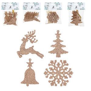 Rose Gold Tree Decorations Set Of 32 Christmas Tree Bell Reindeer Snowflake Ebay