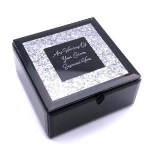 Details About Personalised Beautiful Black Glass Glitter Jewellery Box X68101