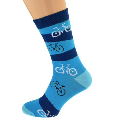 Cyclist Cycling Coloured Woven Design Unisex Cotton Rich Socks UK 5-12 X6S245