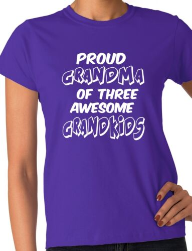 Proud Grandma of 3 Grandkids Grandparents Present Ladies T-shirt Size S-XXL