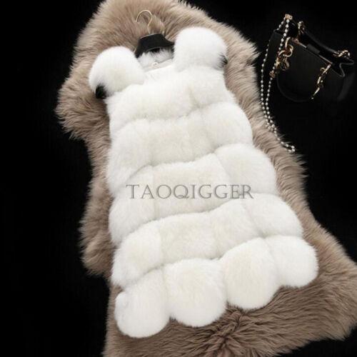 Winter Womens Faux Fur Luxury Vest Top Mid Long Splice Warm FOX Coats Asian 4XL