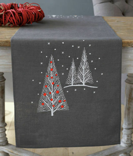 Christmas Trees Embroidery Table Runner Kit