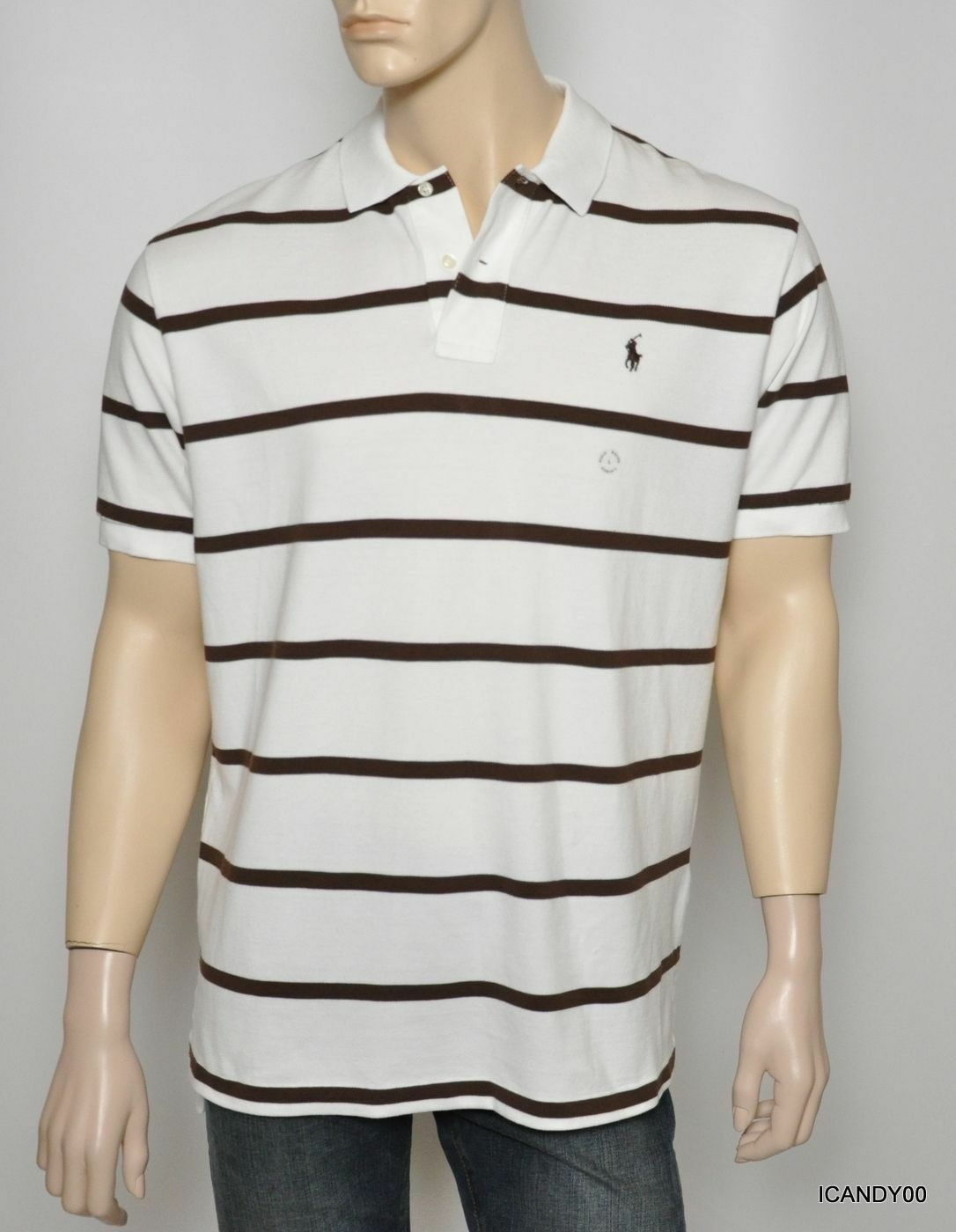 70471fff5da4 Nwt Ralph Lauren Polo Shirt Cotton Short Sleeves T-Shirt Top White Stripe L