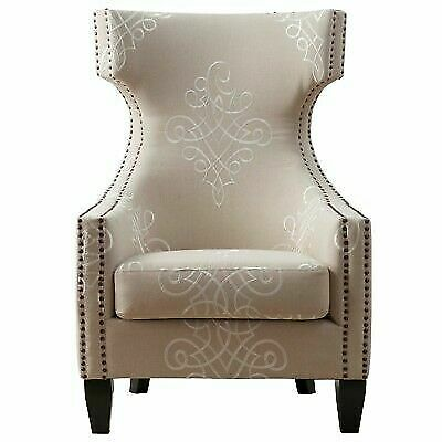 Tov Furniture Gramercy Embroidered Linen Wing Chair For