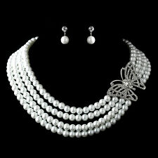 Antique Silver White Pearl & Rhinestone Butterfly Necklace Bridal Jewelry Set