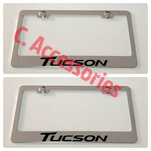 2X Tucson Stainless Steel Chrome Finished License Plate Frame Rust Free W// Caps