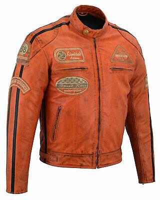con protezioni armor DC-4068A marrone stile vintage consumato Giacca da moto in pelle da uomo