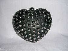 TOPSHOP  FAUX LEATHER  BLACK  STUD  HEART BOX CLUTCH BAG