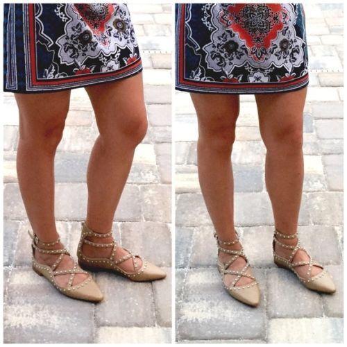 Zara Hautfarben Schuhe Ballerinas Flach mit Nieten Besetzt Schuhe Hautfarben Größe UK 3,4,5,6,7,8 f186a3