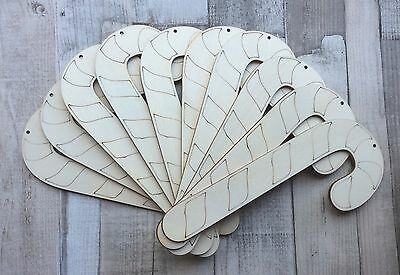 10 laser cut raw wooden Large candy canes christmas tree decoration