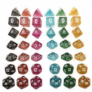 7pcs-set-TRPG-Game-Dungeons-amp-Dragons-Glitter-D4-D20-Multi-Sides-Dice-Blue