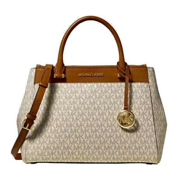 $298 MICHAEL KORS Women's Handbag GIBSON LG SATCHEL LEATHER VANILLA/ACRN