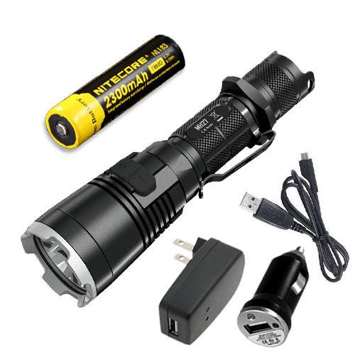 Bundle  Nitecore MH27 Rechargeable XP-L HI V3 Flashlight w NL183 & USB Adaptors