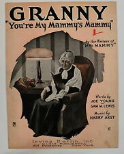 Sheet Music - Granny (You're My Mammy's Mammy) - 1921 - FREE shipping