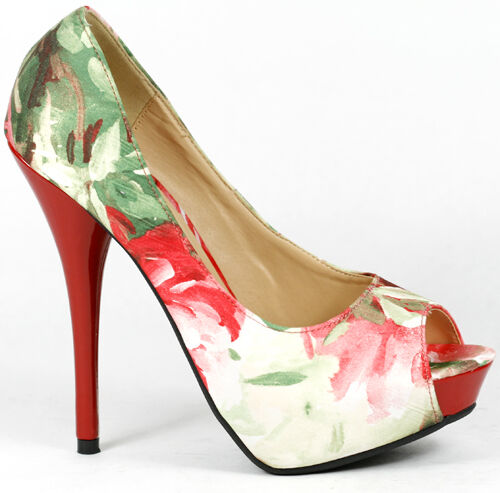 Red Green Beige Floral Open Toe High Stiletto Heel Platform Pump Pump Platform Wild Lounge 920681