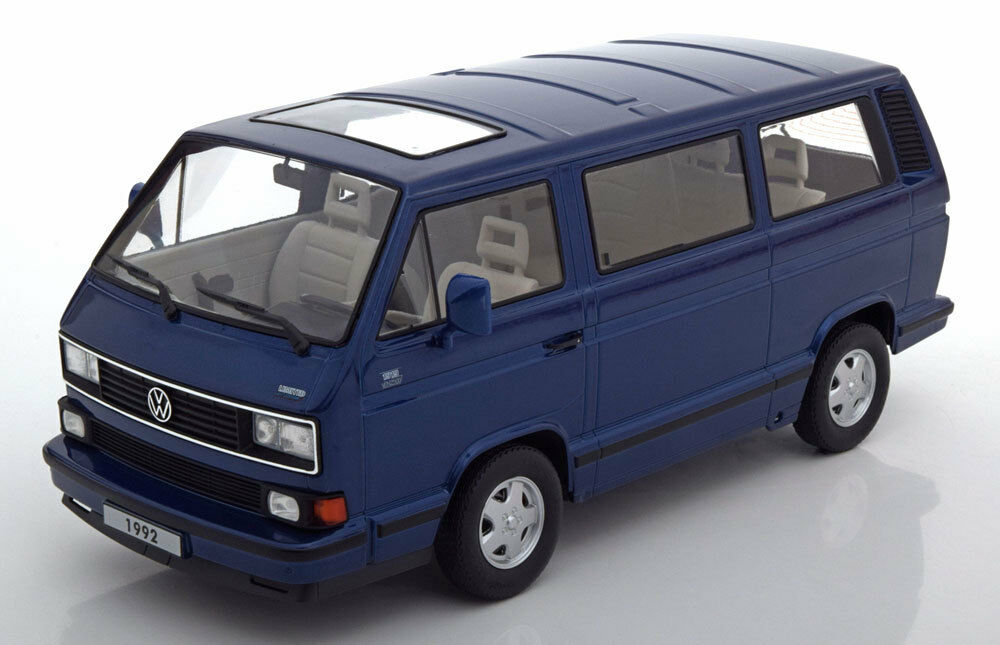 Kk Echelle Modèles 1992 VW Bus T3 Bleu Métallique le de 750 1 18 Échelle Nouveau