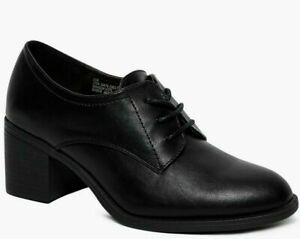 WOMENS LADIES BLACK MID BLOCK HEEL LACE UP BROGUE SHOE BOOTS BOOTIES SIZE 4-7
