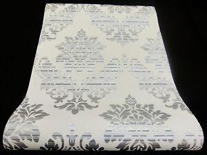 13373-24) design carta da parati tessuto non tessuto GLAMOUR barocco Ornament Bianco Grigio Argento  </span>