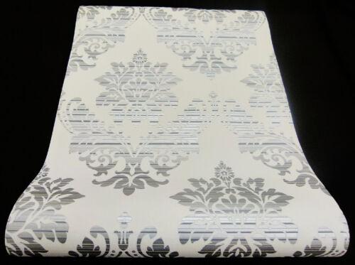 13373-24 Design Vliestapete Glamour Barock Ornament  weiß grau silber