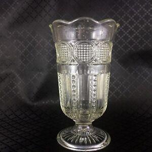 Art Déco Vetro Vaso Alto con Piedini Tromba Urna Originale Chiaro Verde Vetreria