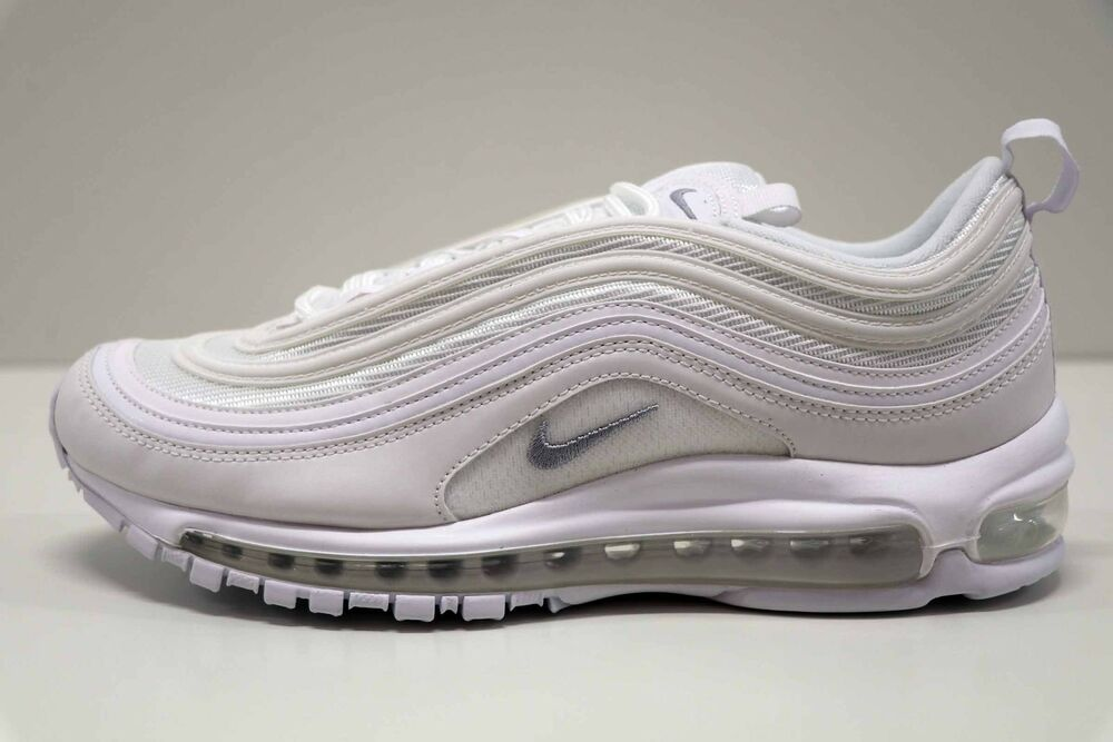 Nike Air Max 97 blanc Wolf Gris noir 921826 101 Taille 9.5 New in Box