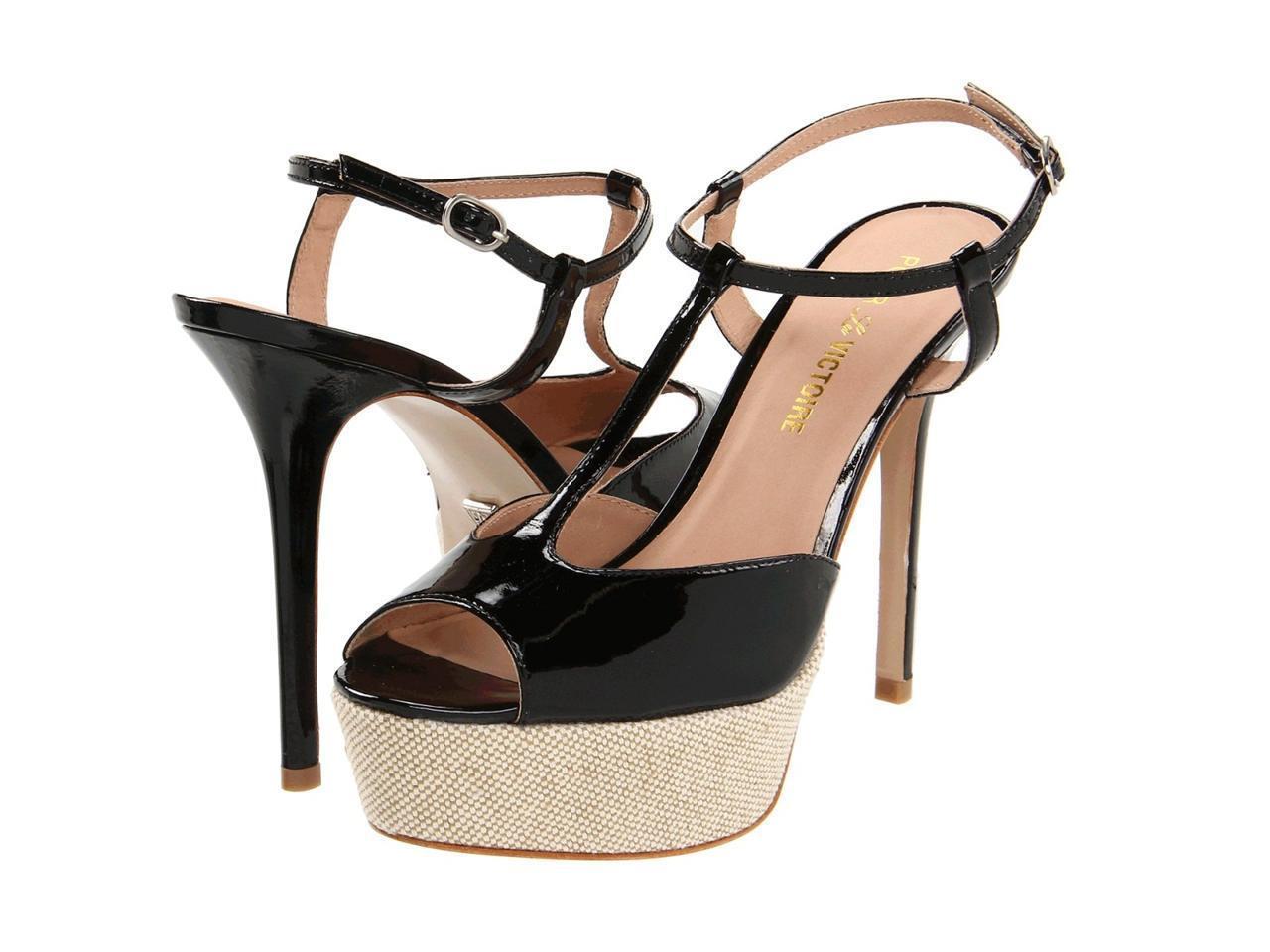 Pour La Victoire Vicenta nero Soft Patent Sandal T strap peep toe platform NEW