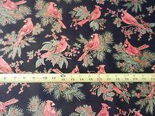 "Red Cardinal cardinals bird CM1266 Gilded tt Cotton Holiday Black 42"" END Fabric"