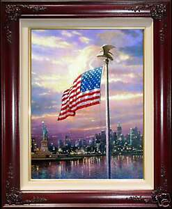 Thomas-Kinkade-DBL-SIGNED-Light-of-Freedom-16x12-A-P-Canvas-Flag-New-York-9-11